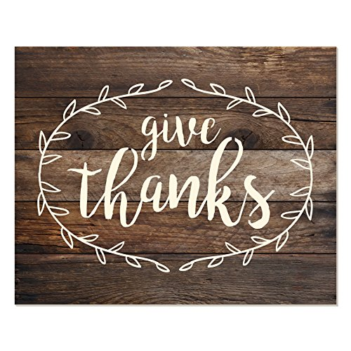 MRC Wood Products Give Thanks Floral Wreath Wall Sign 12x15 -