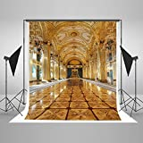 Kate 5x7ft Gold Resplendent Palace Stage Corridor Wedding Ceremony Birthday Party Studio Son Daughter Children Girl Princess Style Backdrop Photography Background