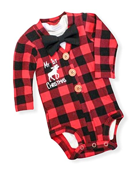 newborn baby boys girls christmas plaid cardigan romper christmas outfit with moose embroidery 2pcs outfit set