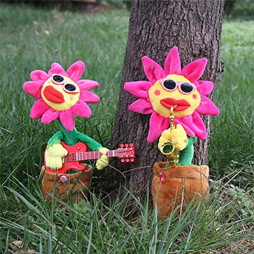 ADSRO Singing and Dancing Sunflower Voice-activated Electric Plush Toys Children's Educational Toys Stress Relief Toys Baby Audio size 8.5 32 cm (Guiter)