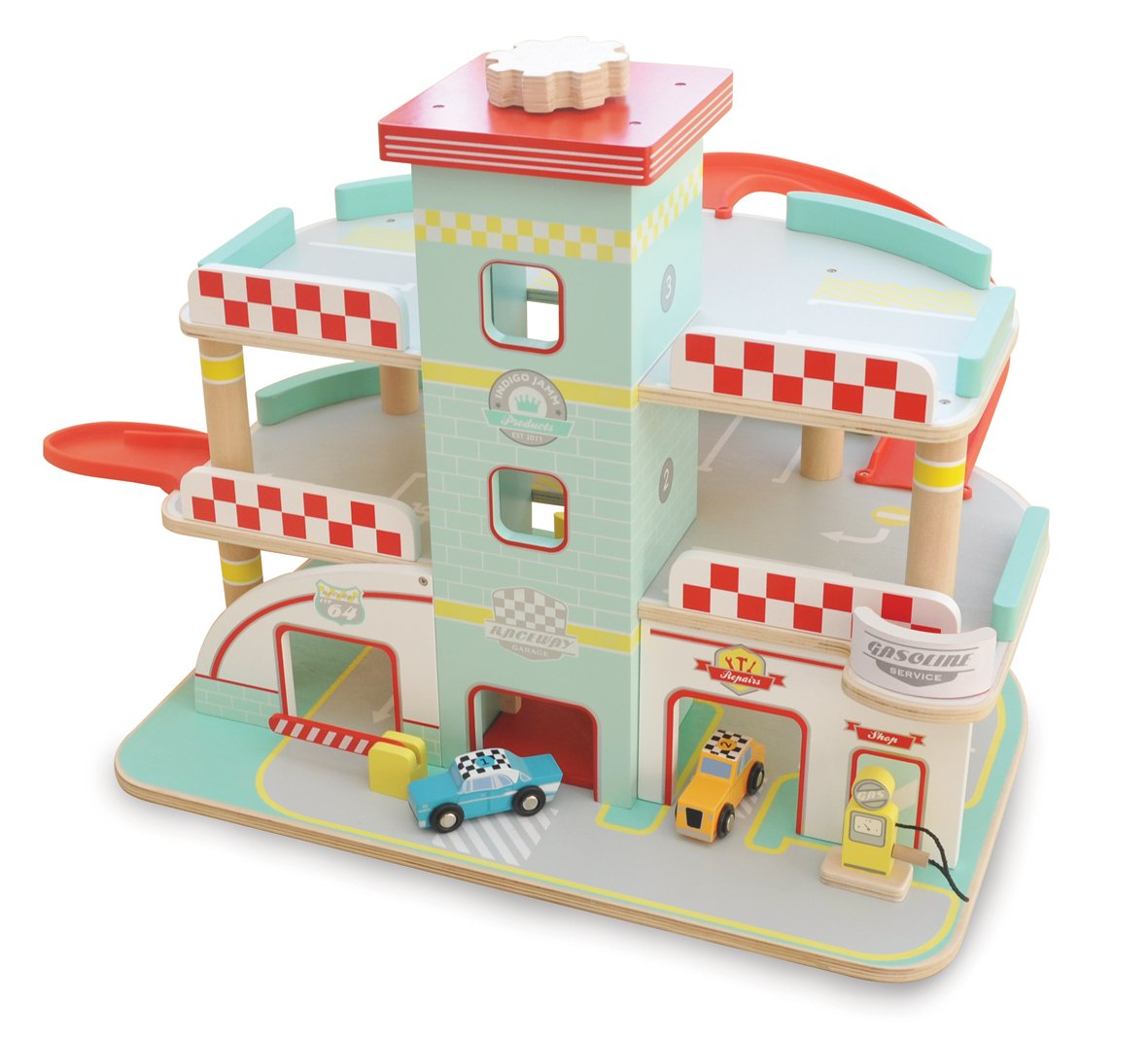 Indigo Jamm Raceway Garage, Retro Design Play Vehicle Set on 3 Floors with Lift and Ramps and 2 Toy Cars Included CIJ2041
