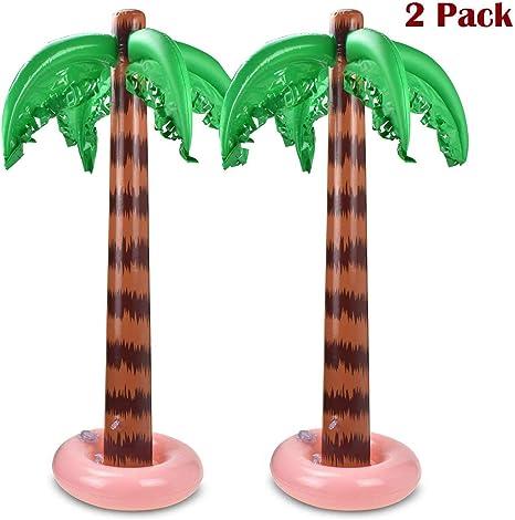 HITECHLIFE 2 Paquetes De Decoración Inflable De Palmeras, Cocoteros Grandes De Playa Tropical, Palmeras Hinchables, Suministros De Decoración De Fiesta De Piscina Hawaiana De Verano para Adultos