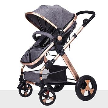 Strollers Carro de bebé Qiangzi para bebé, Silla de Paseo Plegable, con Cuatro Ruedas para bebé, Color Dorado, Gris: Amazon.es: Deportes y aire libre