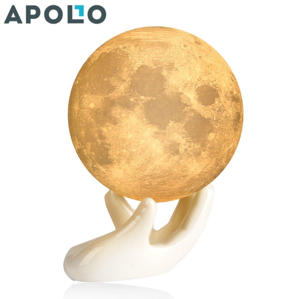 アポロボックス3dプリントムーンランプ調光機能付きタッチセンサー/リモートコントロール充電式LEDナイトライト、赤ちゃんライトwith Base 3.5 Inch AP3.5inchXBD B078S1T5MQ 15493 3.5in Moon Light With Ceramic Hand Base 3.5in Moon Light With Ceramic Hand Base