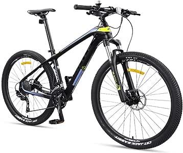 LNDDP Bicicletas montaña para Adultos 27.5 Pulgadas, Bicicleta montaña Ultraligera con Cuadro Fibra Carbono, Freno Disco Doble para Hombres y Mujeres Bicicleta montaña rígida: Amazon.es: Deportes y aire libre