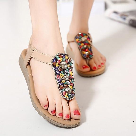Women's Flat Sandals Summer Casual Open Toes Pearls Sandals: Amazon.ca:  Shoes & Handbags
