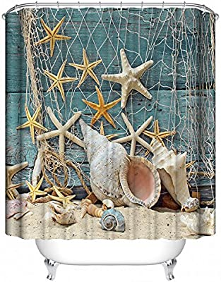 Sea Shell Starfish /& Fishing Nets Design Polyester Fabric Custom Shower Curtain