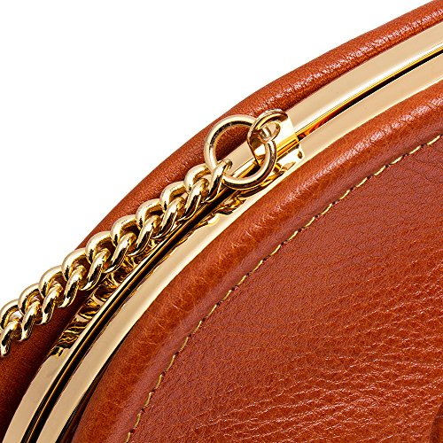 Malirona Handbag Women's Shoulder Embossed Chain Clutch Crossbody Flower Brown Genuine Leather Satchel Evening Metal with rxFAqxw