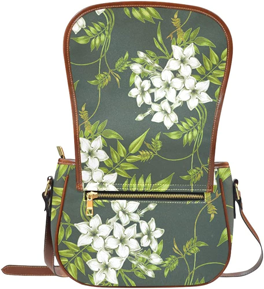 White Elegant Spring Romantic Jasmine Shoulder Crossbody Bags Flap With Magnetic Snap Printed Saddle Bag Pouch Womans Fashion Bags