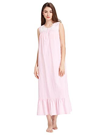 Zexxxy Feminine Victorian Loungewear Roomy Solid Sleeveless Nightgown Pink  Size S 0f86eb6db