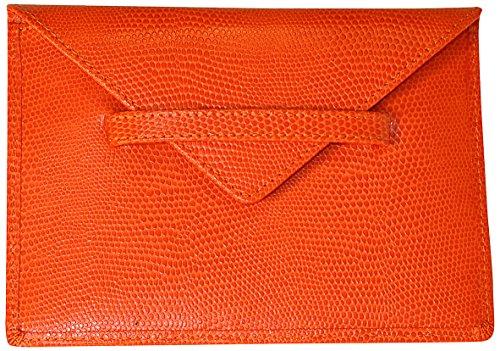 (Budd Leather Company Lizard Print Photo Envelope, Tangerine, 4.5 x 6.5