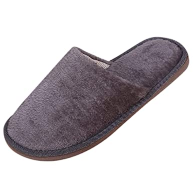 db3ad3fdbbdff NUWFOR Men Warm Home Plush Soft Slippers Indoors Anti-slip Winter Floor  Bedroom Shoes