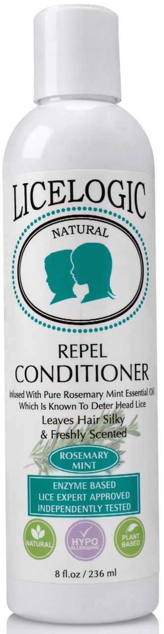 LiceLogic Natural Lice Repel Conditioner - 8 oz Rosemary Mint - Helps Prevent Lice & Detangle Hair - Safe, Vegan, Non Toxic Ingredients - Pesticide & Paraben Free - Good For The Entire Family