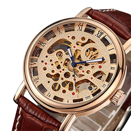 Mens Mechanical Brown Leather - YMFHCH Men's Business Mechanical Ross Round Gold Dial Brown Leather Strap Watches