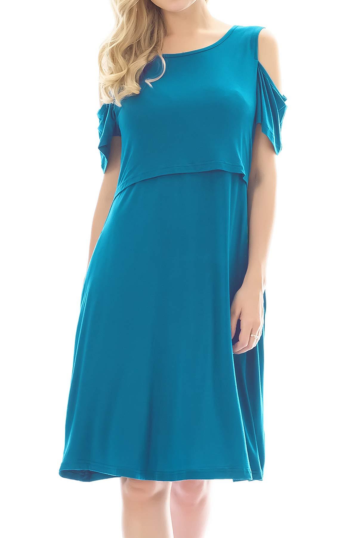 Smallshow Maternity Nursing Breastfeeding Dresses for Women Small Deep Blue