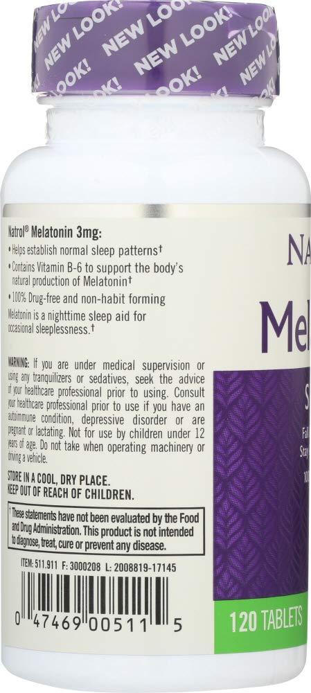 Amazon.com: Natrol (NOT A CASE) Melatonin 3 mg, 120 Tablets: Home & Kitchen