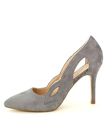 Dynes Gris Cendriyon Cuir Escarpin Femme Taille Chaussures Simili xRgIp5q