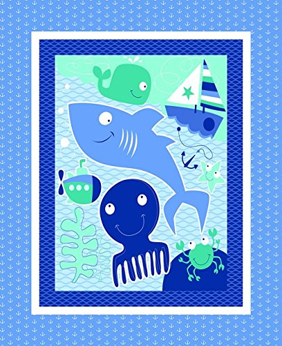 Sea & Water Friends Cotton Fabric Panel (Great for Quilting, Sewing, Craft Projects, a Child's Quilt, Throw Pillows & More) 44