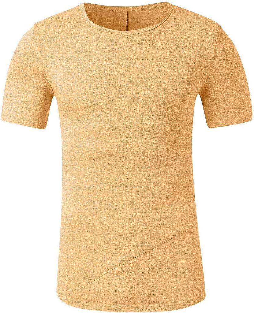 Mens Summer Hipster Hip Hop Slim Muscle T Shirt Casual Zipper Fit Patchwork Short Sleeve Top Blouse Tees