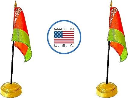 Juego de banderas de Estados Unidos. 2 banderas de mesa de rayón en miniatura de 10