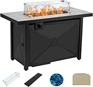 AVAWING Propane Fire Pit Table, 42 inch 60,000 BTU Square Gas Fire pits with Glass Wind Guard w/Ceramic Tabletop with Waterproof Cover, Outdoor Companion, Tempered Glass Beads, Protective Cover