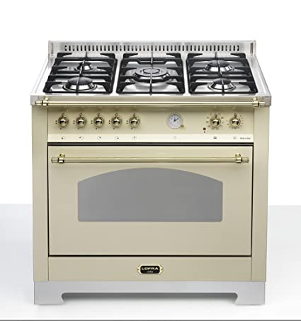 Piano de horno 90 cm marfil. Mono horno rústico.: Amazon.es ...