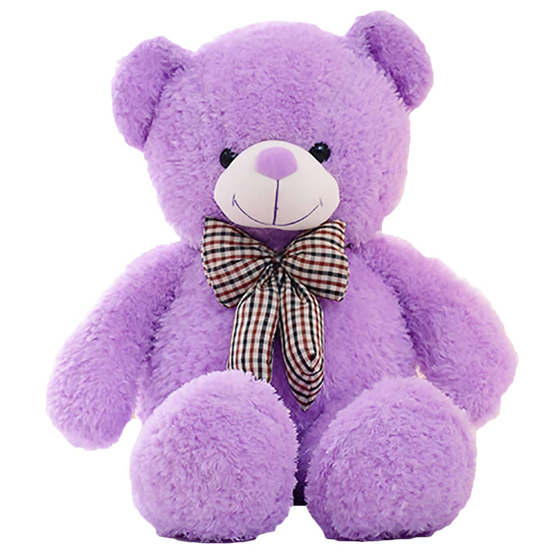 Zhyaj Teddybär,Bow Tie Bear Plüsch Handgefertigt Netter Entwurf Kein Geruch Es Ist eine PlüSchpuppe Super Weißher PlüSch Und PP-Baumwollpolsterung 80180CM Ist Eine Perfekte Wahl lila L