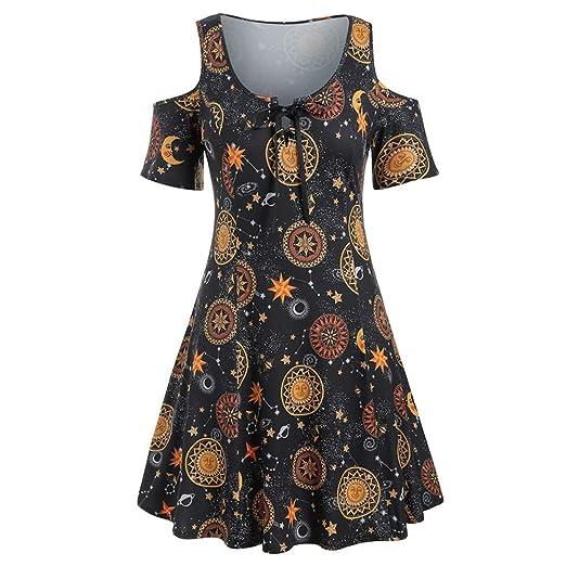 Vestido Casual con Hombros Descubiertos y Estampado Sun Stars Moon ...