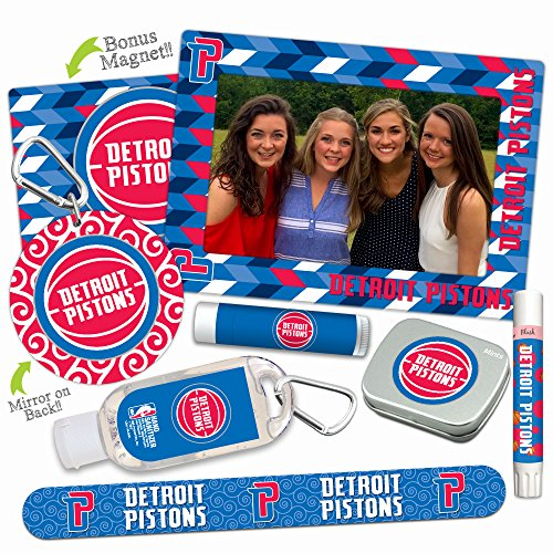 Det Pistons - Detroit Pistons Deluxe Variety Set with Nail File, Mint Tin, Mini Mirror, Magnet Frame, Lip Shimmer, Lip Balm, Sanitizer. NBA Basketball Gifts and Gear for Women