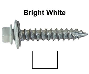 #14 Metal ROOFING SCREWS: (250) Screws X 1u0026quot; BRIGHT WHITE Hex