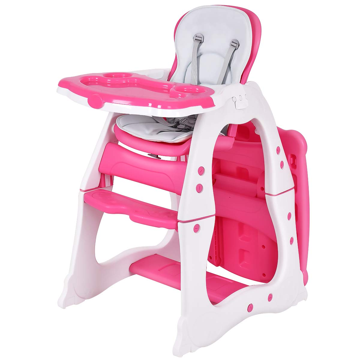 Costzon Baby High Chair, 3 in 1 Infant Table and Chair Set, Convertible Booster Seat with 3-Position Adjustable Feeding Tray, Adjustable Seat Back, 5-Point Harness (Pink) by Costzon