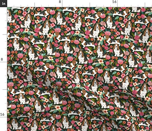 Basset Hound Fabric - Dog Basset Hound Basset Hounds Pet Dog Dogs Flowers Florals Dog by Petfriendly Printed on Fleece Fabric by The - Basset Hound Fleece