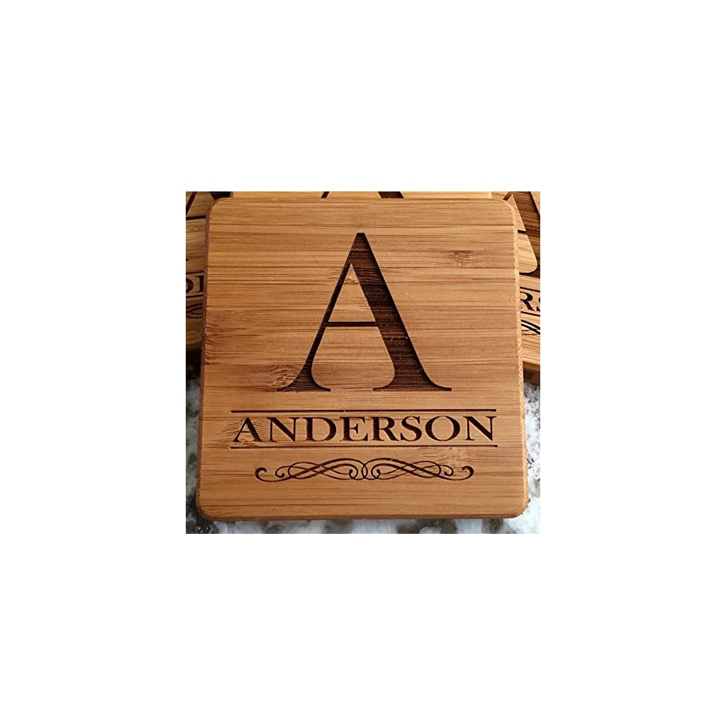 Monogram Wood Coasters for Drinks – Personalized Wedding Gifts, Bridal Shower Gifts