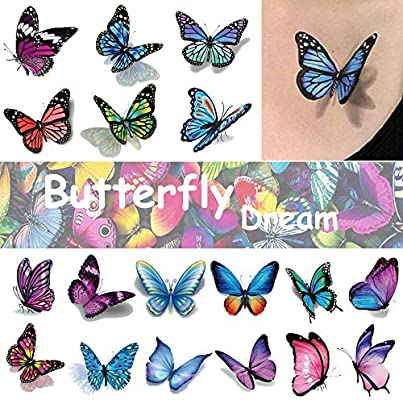 Amazon Com Ooopsi Butterfly Tattoos For Kids Womens 110 Pcs 3d Tattoos Colorful Body Art Temporary Tattoos Butterfly Party Favors Beauty