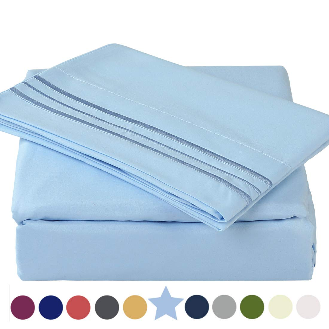 """TEKAMON Premium 4 Piece Bed Sheet Set 1800TC Bedding 100% Microfiber Polyester - Super Soft, Warm, Breathable, Cooling, Wrinkle and Fade Resistant - 10-16"""" Extra Deep Pockets, Queen, Lake Blue"""