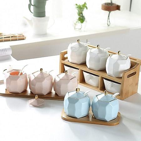 Chic Geometric Golden Rim Ceramic Sugar Bowl Set Sugar Dispenser with Lid Serving Spoon Salt Pot Pepper Storage Jar Seasoning Pot Container Sugar Box Condiment Spice Racks Holder Blue