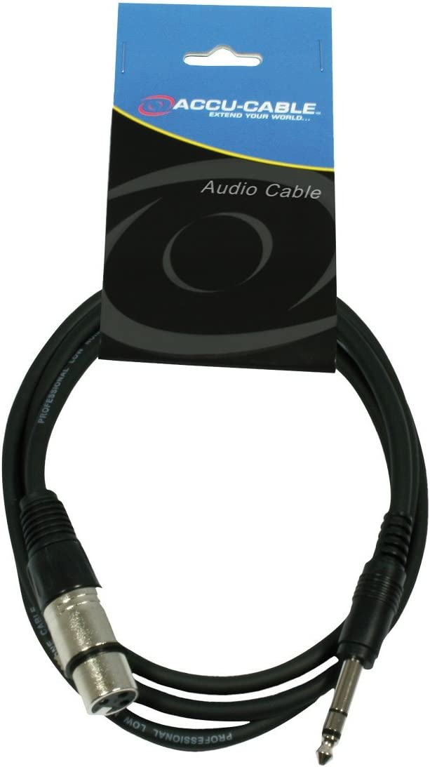 Accu Cable 1.5m XLR Female to Stereo Jack 6.3mm Professional Audio Cable