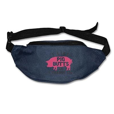 Unisex Pockets I Like Pig Butts Fanny Pack Waist / Bum Bag Adjustable Belt Bags Running Cycling Fishing Sport Waist Bags Black