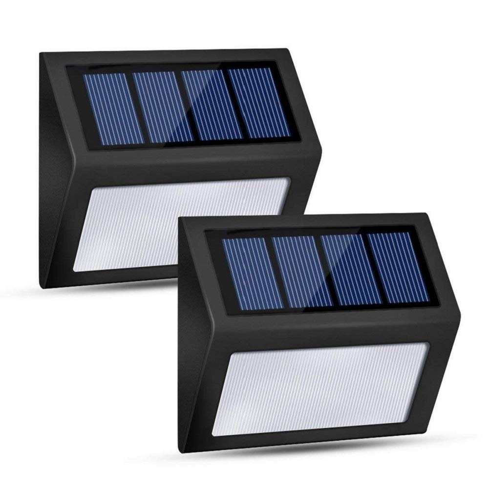 Honor-Y LED Solar Lights Outdoor, Solar Powered Step Lights Wireless Waterproof Outdoor Security Lamps Lighting for Front Door/Back Yard/Driveway/Garage/Outdoor Wall (White Light, 2 Pack)