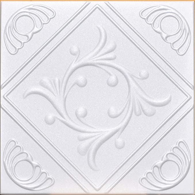 40 pcs // 10 sqm Decorative Laminated Polystyrene Ceiling Tiles Panels Astro White