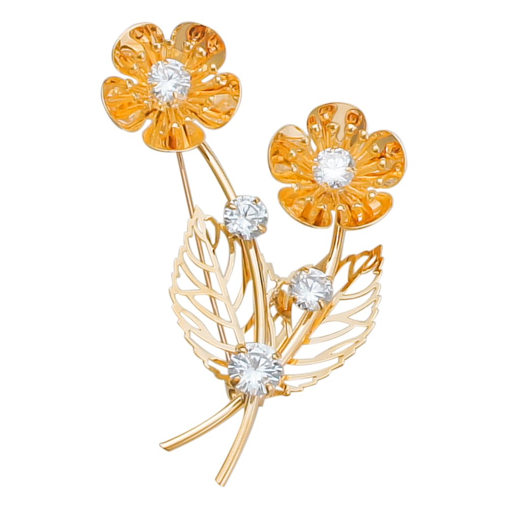 sourjas Unique Jewelry Gold-Tone Crystal Art Deco Flower Hollow Brooches and Pins Fashion Unisex Accessory