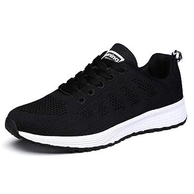 d8b1869f3b3 Baskets Mode Chaussures de Sport Homme Femme Running Léger Respirantes  Course Chaussures Outdoor Multisports Noir 35