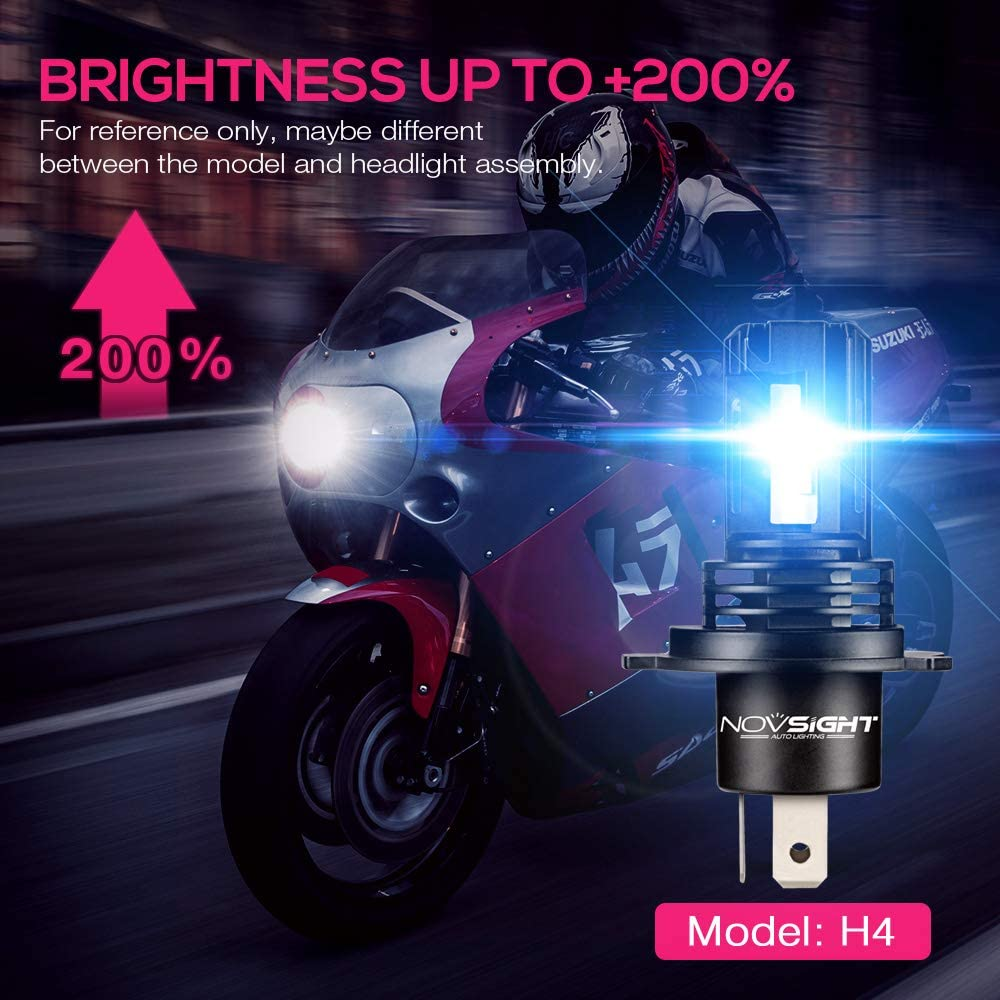 NOVSIGHT Ampoule LED H7 pour Moto Mini Taille Phare Avant pour Moto Avec ZES LED Chips 5000LM 28W 6000K Blanche IP68 Etanche Garantie 2ans Noir