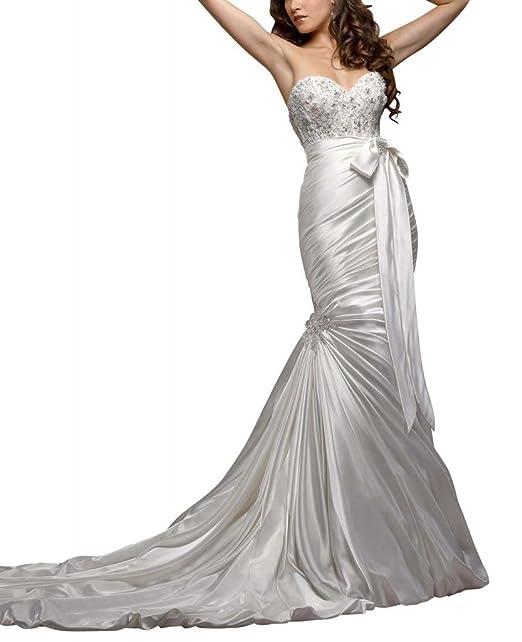 George Bride Sexy sirena del tesoro Capilla Tren Vestidos de novia boda Vestidos con Bowknot beige