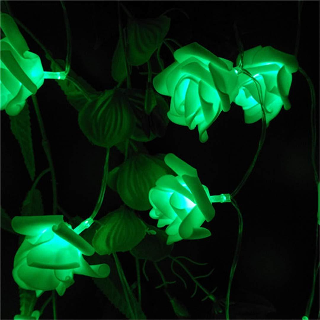 BGFHDSD LED Wedding Rose Love's Day Flower Light Strings Battery Garlands Festival Garden Decor. Bouquet Lights Lumiere Rosa Green by BGFHDSD