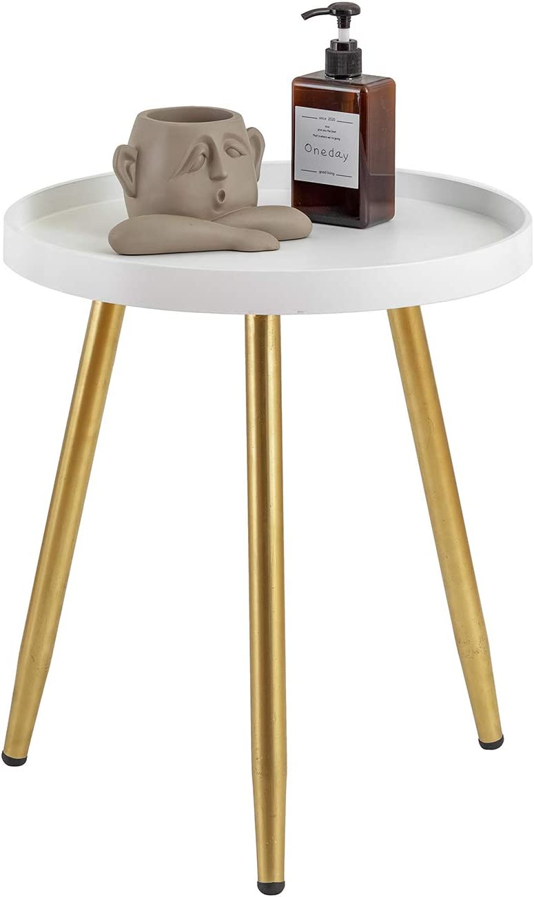 "MHKanS Round Side Table 18"" H x 15""D Accent Table Nightstand Coffee Table White Wooden Tray Table with Gold Metal Stand End Table for Living Room Bedroom Office Small Spaces (White & Gold)"