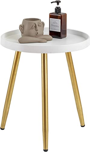 MHKanS Round Side Table 18″ H x 15 D Accent Table Nightstand Coffee Table White Wooden Tray Table