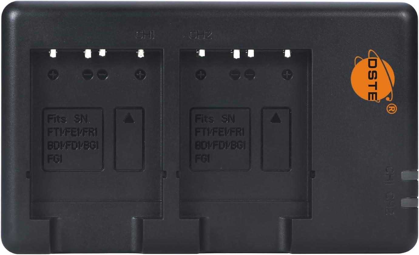 DSTE 2PCS NP-FT1(1300mAh/3.7V) Batería Cargador Compatible para Sony CyberShot DSC-L1,DSC-M1,DSC-M2,DSC-T1,DSC-T3,DSC-T3S,DSC-T5,DSC-T9,DSC-T10,DSC-T1...