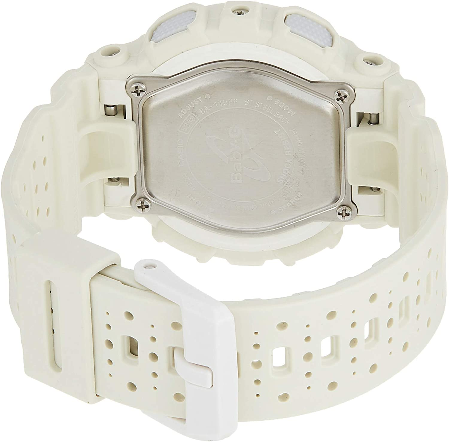 Casio Women's Digital Watch with Resin Strap, White, 24 (Model: BA110PP-7A)