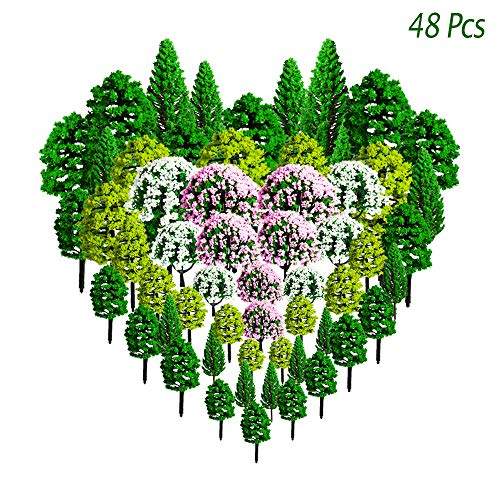 Miniature Railroad - 48pcs Mixed Colorful Model Trees, Hatisan Model Scenery Trees Train Trees Railroad Diorama Architecture Trees, Fake Trees Diorama Supplies for Projects DIY Landscape Railways (1.4-5.8inch)